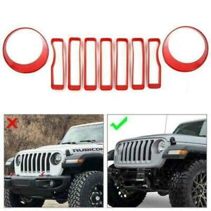 Red Front Grille Grill Insert Cover Trim For Jeep Wrangler Jl 2018 2020