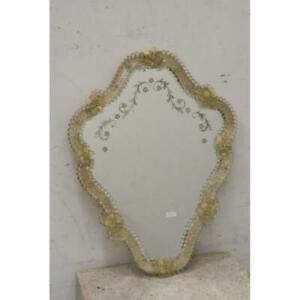Vintage 1970 Italian Murano Etched Glass Mirror Flowers