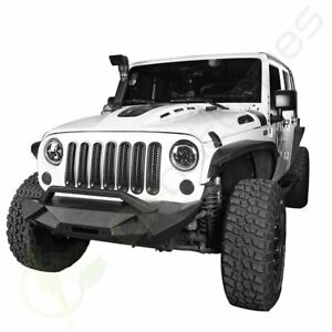 Textured Black Front Winch Bumper Guard Assembly For Jeep Wrangler Jk 2007 2018