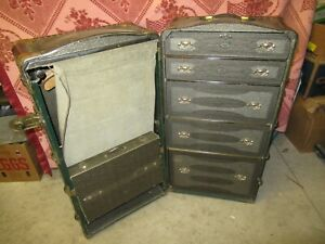 Old Vintage Steamer Wardrobe Indestructo Big Heavy Duty Trunk Chest Case