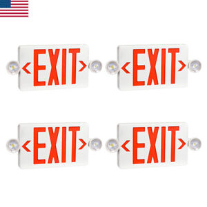 4pcs Ul listed Emergency Light red Led Exit Sign Dual Lamp Abs Fire Resistance