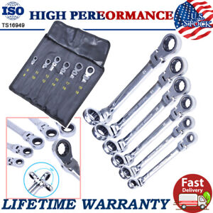 6 Double Box End Ratcheting Wrench Flex Head Extra Long Heavy Duty Spanner Set