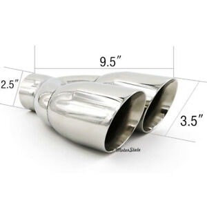 Fit For 2 5 Inlet 2x3 5 Outlet 9 5 Overall Length Exhaust Tip Tailpipe