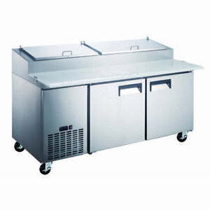 Adcraft Grpz 2d 71 Two Section Refrigerated Pizza Prep Table 17 Cu Ft