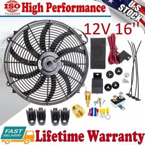 16 Electric Radiator Cooling Fan High Cfm Thermostat Relay Switch Kit 3000cfm