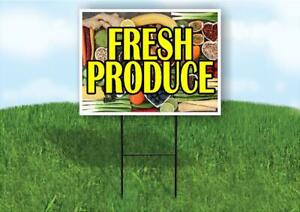 Fresh Produce Plastic Yard Sign Road Sign With Stand
