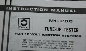 Delco M1 260 Instructions Only Photocopy Tune Up Analyzer Tester