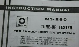 Delco M1 260 Instructions Only Electronic Copy Tune Up Analyzer Tester