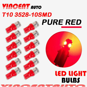 Pure Red T10 Wedge 10smd 3528 Led License Interior Dome Map 12 Pcs