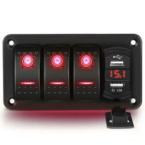 3 Gang Rocker Switch Panel 4 8a Usb Charger Car Boat Marine Rv Truck Red Led 12v