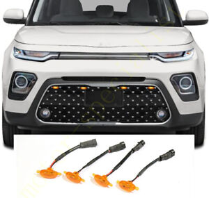 New For Kia Soul 2020 2021 Front Grille Led Amber Light Raptor Grill Cover 4pcs