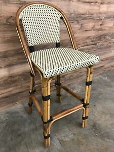 Restaurant Style Patio Stacking Wicker Bar Stool With Bamboo Construction