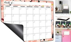 Dry Erase Fridge Calendar Large Magnetic White Board Monthly Planner Pink