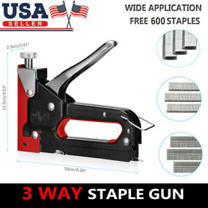 Heavy Duty Staple Gun 3 In 1 Hand Stapler Tacker With 600 Staples Upholstery New