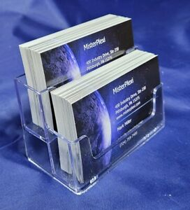 2 Tier Business Card Holder Clear Free Shipping