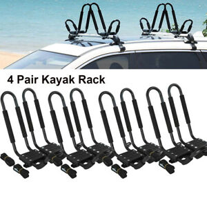 4 Pairs Canoe Boat Kayak Roof Rack Car Suv Truck Top Mount Carrier J Cross Bar