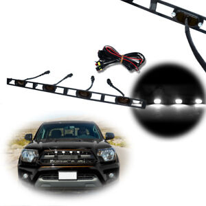 For 2012 15 Toyota Tacoma White Front Grille Led Lights Assembly W wire Harness