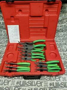 Snap on Tools 12pc Snap Ring Green Pliers Set In Plastic Case srpc112