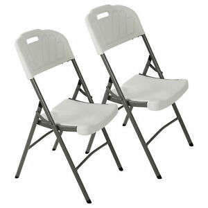 2x Folding Chairs Plastic Commercial Stackable Wedding Party Waterproof Outdoor