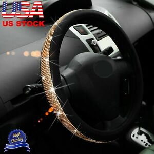 Steering Wheel Cover Bling Shiny Rhinestone Pu Leather Non slip Fit 38cm 15in