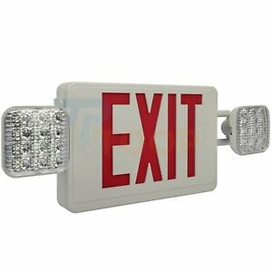 Led Emergency Exit Sign Light Square Dual Lights Ceiling Wall End Mount