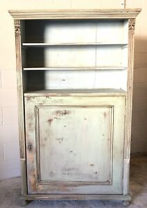 Antique European Rustic Country Bookcase Bookshelf With Storage And Key