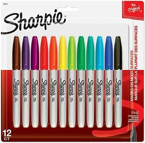 New Original Sharpie Permanent Markers Set Of 12 Assorted Colors Fine Point