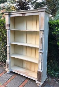 Antique European Rustic Painted Reclaimed Wood Book Shelf Display Bookcase Solid