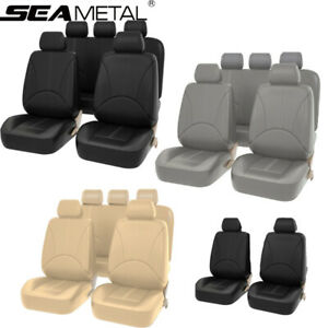 Us Car Seat Covers Set Full Surrounded Leather Universal Auto Front Rear 4 9 Pcs