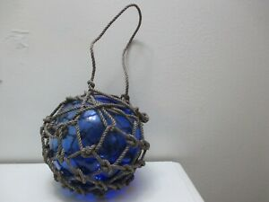 Vintage Blue Glass Fishing Float Buoy Ball Rope Netted 30 Circumference