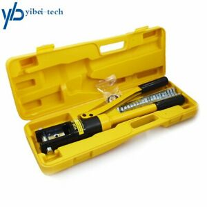 Hydraulic Wire Crimper Crimping Tool Battery Cable Lug Terminal 11 Dies 16 Ton