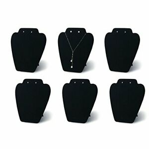 6 Pieces Necklace Jewelry Display Stand Tray Black Velvet Pendant Holder Rack