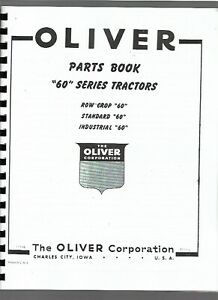 Oliver 60 Row Crop Tractor Parts Manual Catalog Standard Industrial