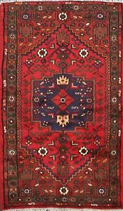 Red Vintage Oriental Geometric Area Rug Hand Knotted Wool 3x5 Traditional Carpet