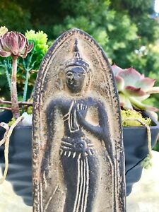 Antique Vintage Thai Bhudda Metal Spiritual Buddhist Plaque