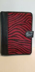 Vintage Wilson Leather Red Zebra Stripe Day Planner 10 1 2 X 8 3 Ring 1 Inch