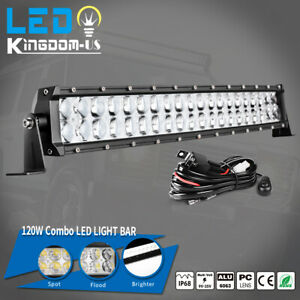 22inch 120w Curved Led Light Bar Spot Offroad Driving Bumper Atv Boat Wiring
