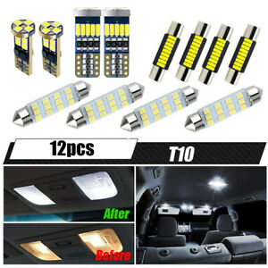 12x Car Interior Led Lights Kit For Dome Map License Plate Lamp Car Accessories