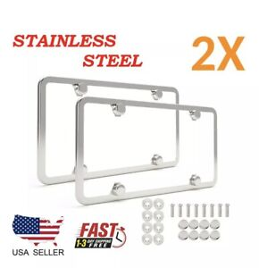 2pcs Chrome Stainless Steel Metal License Plate Frame Tag Cover With Screw Caps