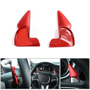Red Steering Wheel Shift Paddle Covers Trim For Dodge Challenger Charger 2015 20