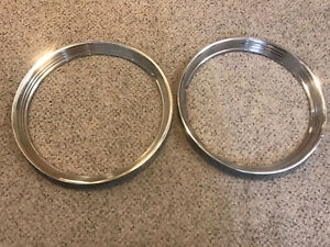 Pair 15 Trim Ring Chrome Hubcaps Wheel Covers Beauty
