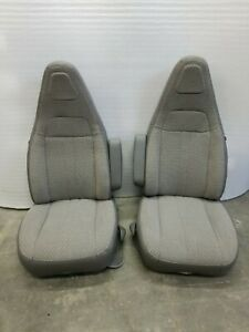 97 20 Chevy Express gmc Savana Van Pair Lh Rh Gray Cloth Power Bucket Seats