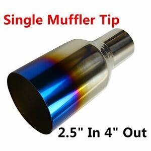 1pc Blue Burnt Exhaust Tip Single Layer 2 5 Inlet 4 Outlet 9 Long Stainless