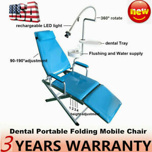 Portable Dental Folding Chair Unit Led Light Headrest Basin Tray Mobile Equip Us
