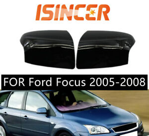 Rearview Mirror Cover For Ford Focus 2005 2008 Gloss Black Cap Holding L r Sides