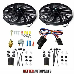 Dual 16 Inch Universal Electric Radiator Cooling Fan thermostat Mount Kit Black