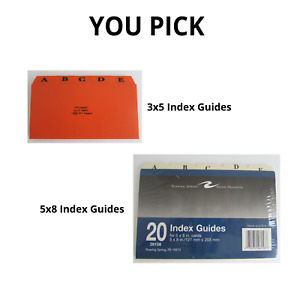 Tab Index Card File Guides Dividers A Z 3x5 5x8 Recipes Addresses You Pick