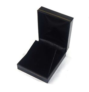 12 Large Earring Or Pendant Gift Boxes Black Classic Leatherette Display