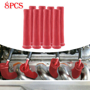8pcs 2500 6 Spark Plug Wire Boots Protector Sleeve Heat Shield Cover Red