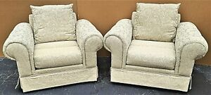 Pair Of Barclay Tufted Roll Arm Oversized Damask Upholstered Lounge Club Chairs